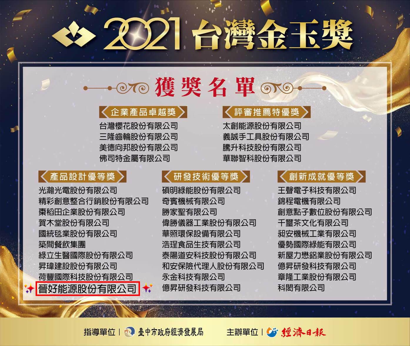 Read more about the article 賀喜!晉好能源榮獲2021台灣金玉獎-產品設計優等獎